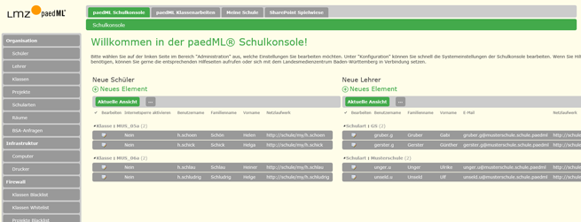 Schulkonsole paedML Windows 3.0